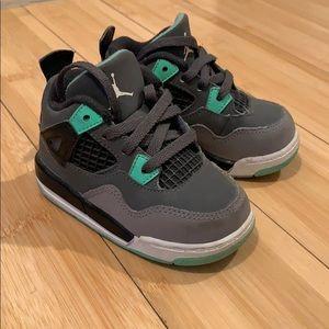 Shoes - Jordan retro 4 size 5c grey green black and white